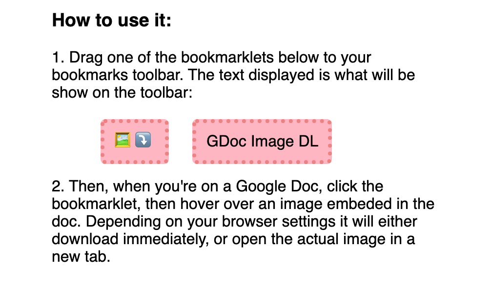 A screenshot of the bookmarklet buttons