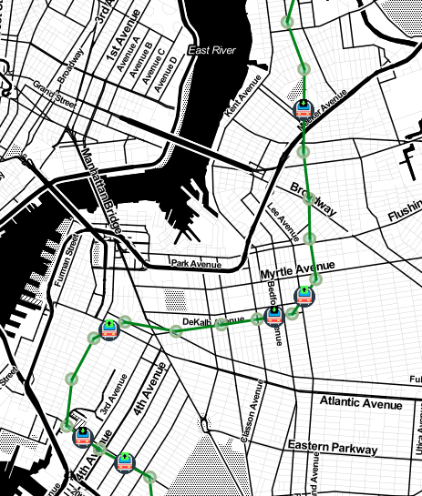 A screenshot of the first prototype of my subway map app