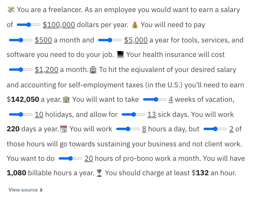 A screenshot of the Hourly Rate Calculator app that reads: 💸 You are a freelancer. As an employee you would want to earn a salary of $100,000 dollars per year. 💰 You will need to pay $500 a month and $5,000 a year for tools, services, and software you need to do your job. 💻 Your health insurance will cost $1,200 a month.🏥 To hit the eqiuvalent of your desired salary and accounting for self-employment taxes (in the U.S.) you'll need to earn $142,050 a year.🏦 You will want to take 4 weeks of vacation, 10 holidays, and allow for 13 sick days. You will work 220 days a year.📆 You will work 8 hours a day, but 2 of those hours will go towards sustaining your business and not client work. You want to do 20 hours of pro-bono work a month. You will have 1,080 billable hours a year.⏳ You should charge at least $132 an hour.